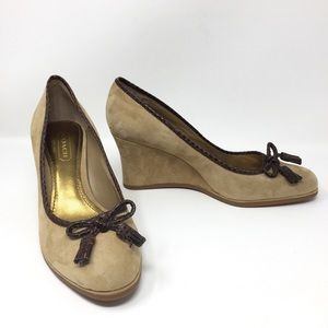Coach Irene Genuine Suede/Leather Wedge Shoes